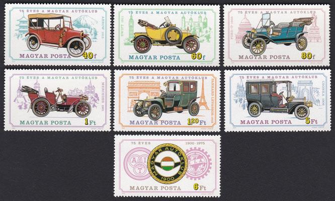 Postzegels Hongarije uit 1975 ter gelegenheid van 75 jaar Hongaarse Auto Club.