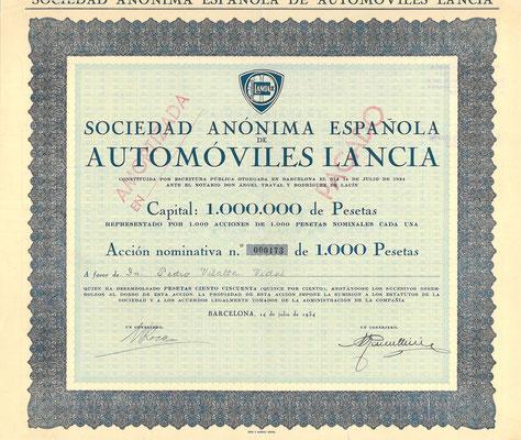 Spaans aandeel Lancia uit 1934.