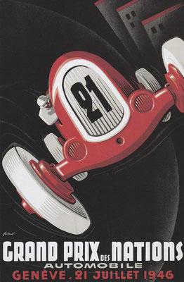 Affiche van de Grand Prix 1946 in Zwitserland.