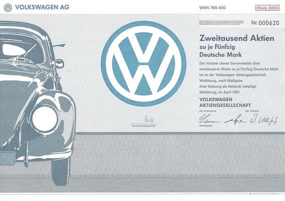 Aandelen (Aktien) DM 100.000 Volkswagen A.G. Wolfsburg uit 1991.