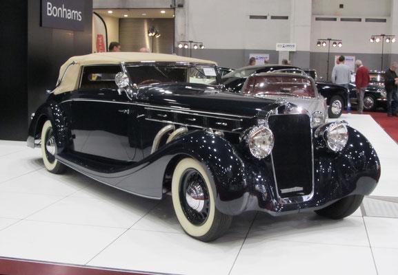 Delage D8-120 Cabriolet uit 1937 met een carrosserie van Chapron. (Interclassics Brussels 2018)