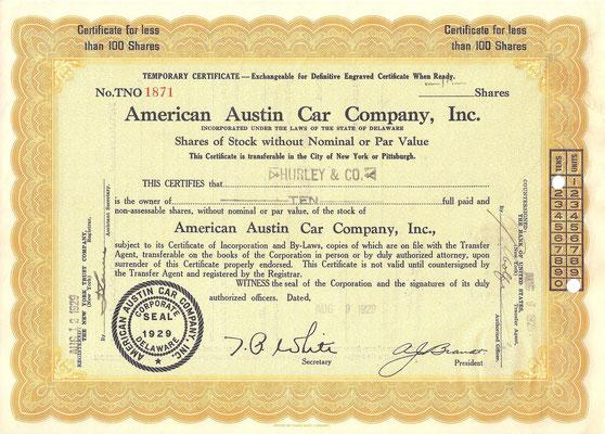 10 Aandelen American Austin Car Company, Inc. uit 1929.