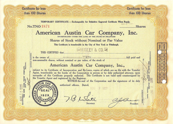 Certificaat voor 10 aandelen American Austin Car Company, Inc. uit 1929.
