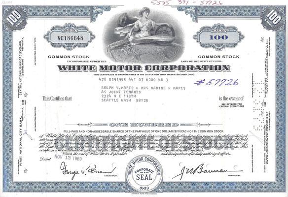 Certificaat voor 100 aandelen White Motor Corporation uit 1969.