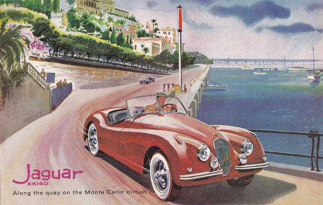 Jaguar XK140 over de kade op het Monte Carlo circuit (1956).
