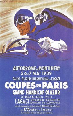 Affiche ontworpen door Geo Ham voor de Montlhéry Autodroom in 1939.
