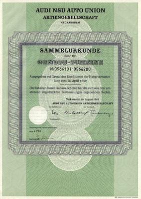 100 Genuss Scheine Audi NSU Auto Union A.G. uit 1969.