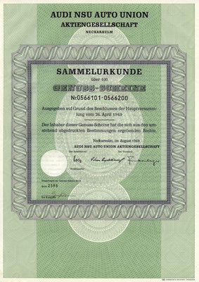 100 Genuss Scheine Audi NSU Auto Union A.G. Neckarsulm uit 1969.