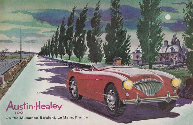 Austin-Healey 100 op de Mulsanne Straight, Le Mans, Frankrijk (1956).