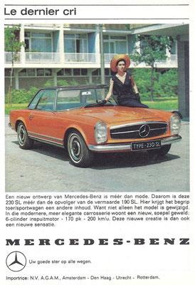 Nederlandse advertentie voor de Mercedes-Benz 230 SL uit 1963.
