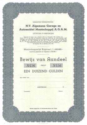 Aandeel  Algemene Garage en Automobiel Maatschappij A.G.A.M. (blanket).