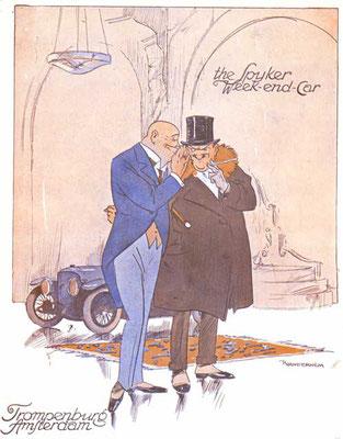 Een poster van Piet van der Hem voor Spyker uit 1920.