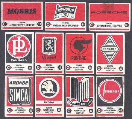 Centra lucifers, automerken, 1957, 33-43.