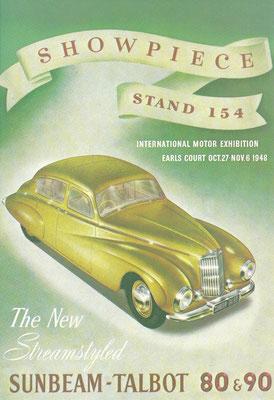 Engelse advertentie uit 1948 voor de Sunbeam-Talbot 80 en 90.
