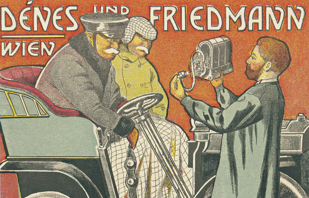 Het Weense bedrijf Dénes & Friedmann verkocht Bosch producten in Oostenrijk en Hongarije vanaf 1899. Op deze catalogus uit 1905 demonstreert het bedrijf de voordelen van het magneto onsteking systeem aan chauffeurs.