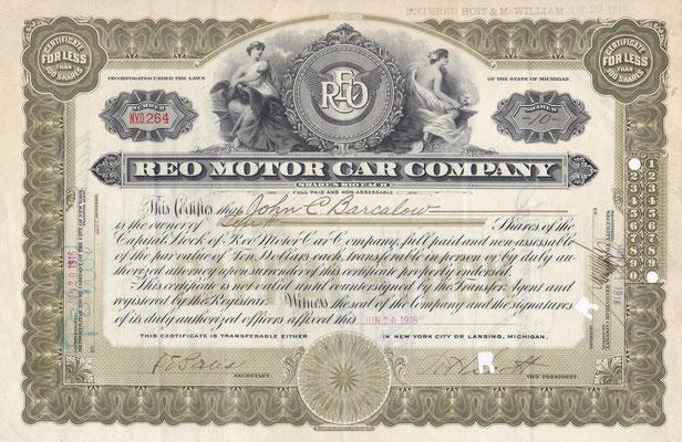 Certificaat voor 10 aandelen REO Motor Car Company uit 1916 met de handtekening van Richard H. Scott.