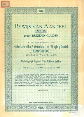 "Aandeel N.V. Nederlandsche Automobiel- en Vliegtuigfabriek ""Trompenburg""  uit ~1920, blanket."