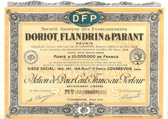 Een aandeel S.A. des Établissements Doriot, Flandrin & Parant uit 1918. Dit stuk (met een ander nummer) is te koop, prijs € 10,00 email: info@automobielhistorie.com