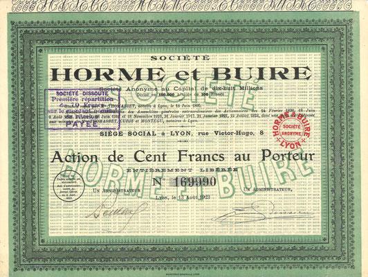 Een aandeel Société Horme et Buire uit 1923. Dit stuk (met een ander nummer) is te koop, prijs € 8,00 email: info@automobielhistorie.com