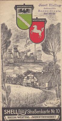 SHELL Strassenkarte, Nr.10 Rheinprovinz - Westfälen Industriegebiet (na 1924, vóór 1940).