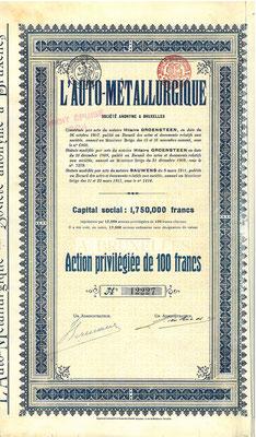 Aandeel L'Auto Métallurgique uit 1911. Kapitaal 1.750.000 Francs. Dit stuk (met een ander nummer) is te koop, prijs € 10,00 email: info@automobielhistorie.com