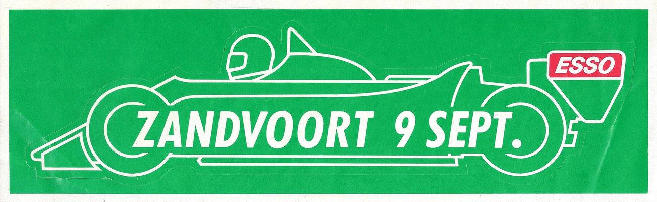Sticker van Esso voor races op het circuit van Zandvoort.