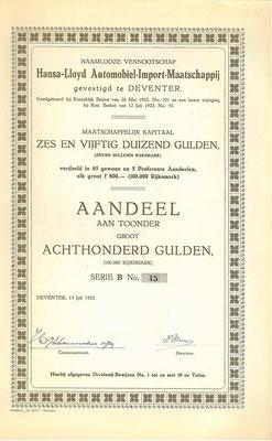 Aandeel N.V. Hansa-Lloyd Automobiel-Import-Maatschappij uit 1922.