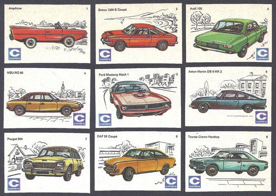 Centra lucifers, auto's, 1970, nr. 1-9.