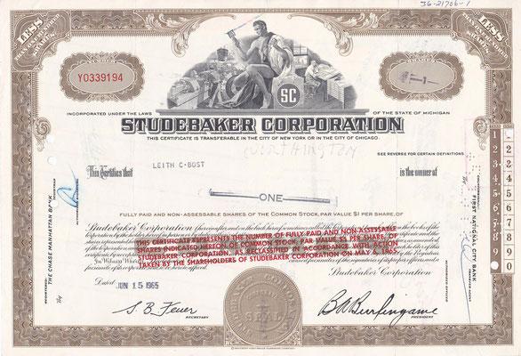 Certificaat voor 1 aandeel Studebaker Corporation uit 1965.