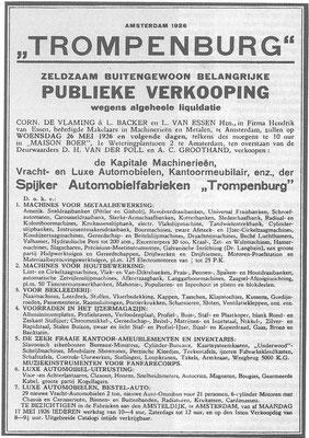 Advertentie voor de liquidatie verkoop in 1926.