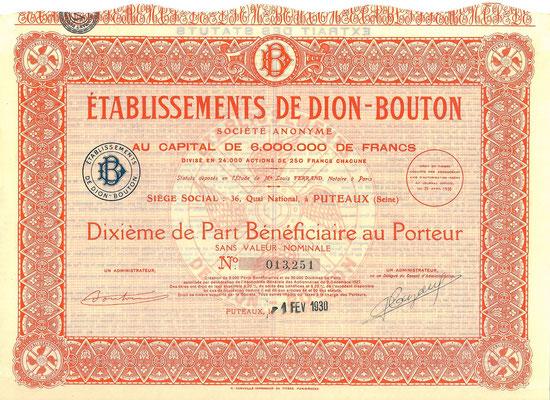 Aandeel Établissements De Dion-Bouton S.A. uit 1930.