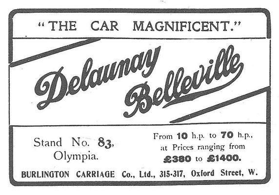 Advertentie voor Delaunay Belleville uit 1908.