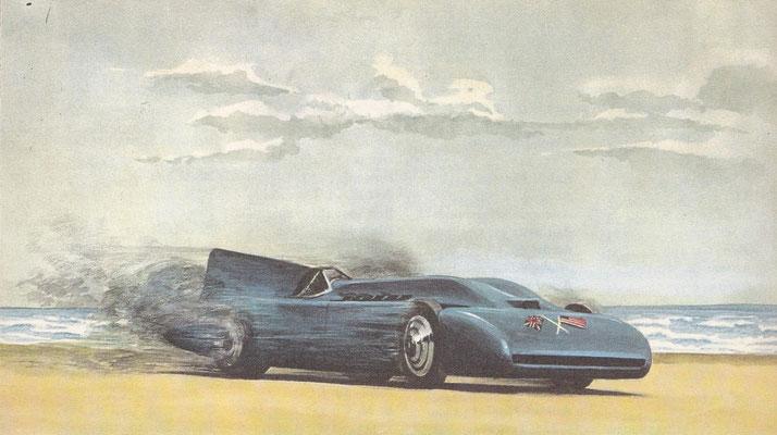 Sir Malcolm Campbell in 1935 op Daytona Beach met een record van 445 km/u.