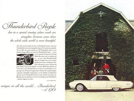 Een advertentie voor de Ford Thunderbird uit 1961.
