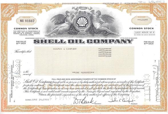 Certificaat voor 100 aandelen Shell Oil Company uit 1980.