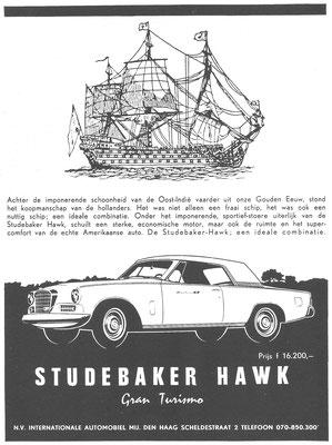 Nederlandse advertentie voor de Studebaker Hawk.