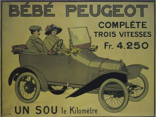 Reclame uit 1913 voor de Peugeot Bébé, ontworpen door Ettore Bugatti..