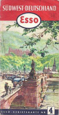 Esso Gebietskarte, Nr.4 Südwest-Deutschland, 1952.