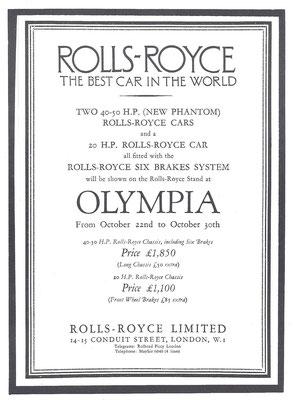 Een advertentie van Rolls-Royce uit 1925.