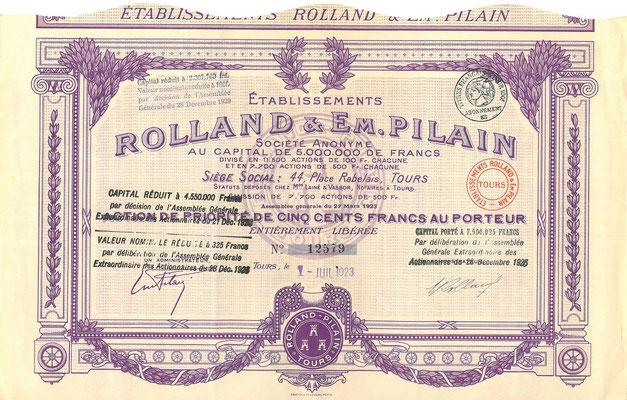 Aandeel Établissements Rolland & Em.Pilain S.A. uit uit 1923.