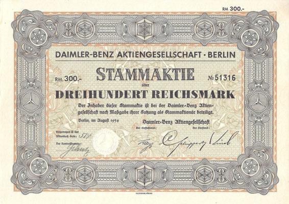 Aandeel (Stammaktie) 300 RM Daimler-Benz A.G. Berlin uit 1934.