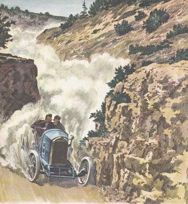 Georges Boillot rijdt in 1913 de Mont Ventoux  bergrace in een Peugeot Grand Prix model.