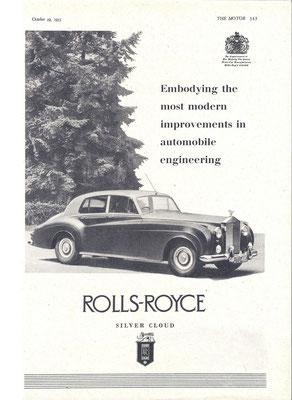 Een advertentie voor de Rolls-Royce Silver Cloud uit 1955.