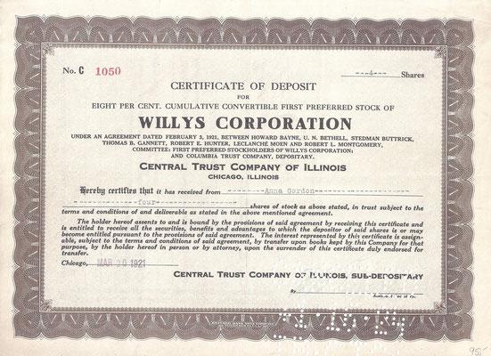 Certificaat voor 4 aandelen Willys Corporation uit 1921.
