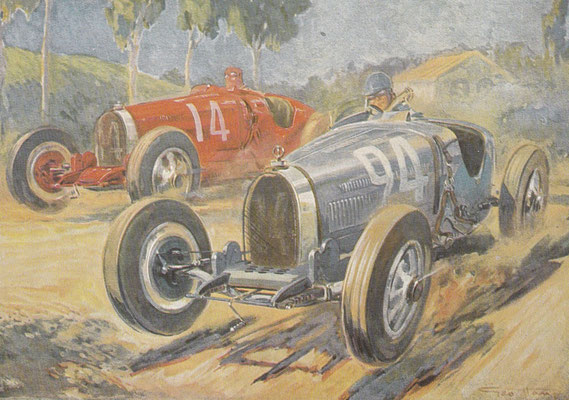Kunstwerk van Geo Hamm met Bugatti's T 35 uit L'Illustration 1928.