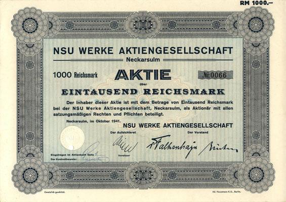 Aandeel 1000 RM NSU Werke A.G. Neckarsulm uit 1941.