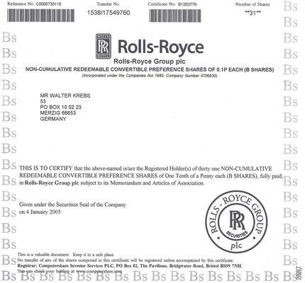 Certificaat voor 31 aandelen Rolls-Royce Group plc uit 2005.