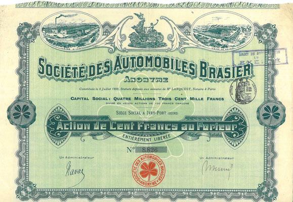 Aandeel Société des Automobiles Brasier Anonyme uit ~1908.