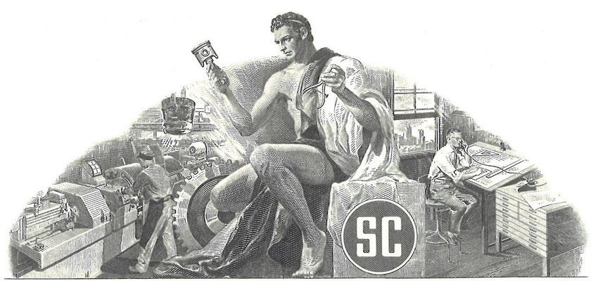 Vignet op een certificaat Studebaker Corporation.