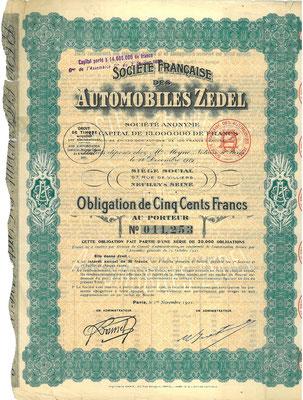 Een obligatie Société Francaise des Automobiles Zedel S.A. uit 1921, het jaar waarin het merk fuseerde met Donnet tot Donnet-Zedel.